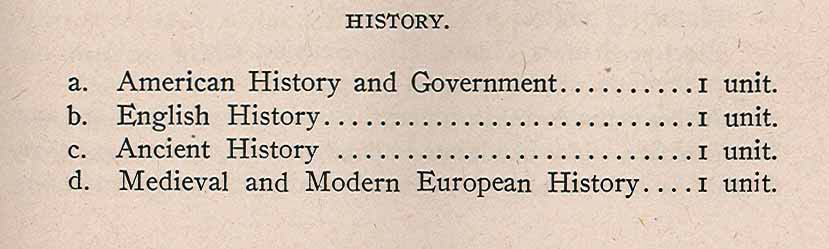 Listing pf history courses in 1910