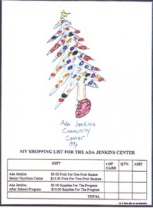 Shopping list for Ada Jenkins Center
