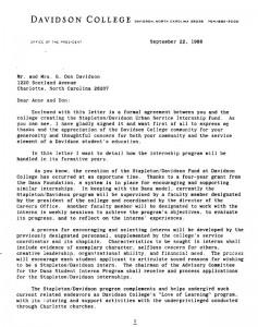 Letter about Internships