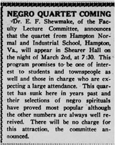 Newspaper article Negro Quartet Coming