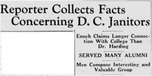 Headline: Reporter Collects Facts Concerning D.C. Janitors