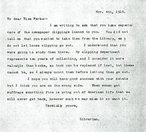 Letter written by Ms. Shaw
