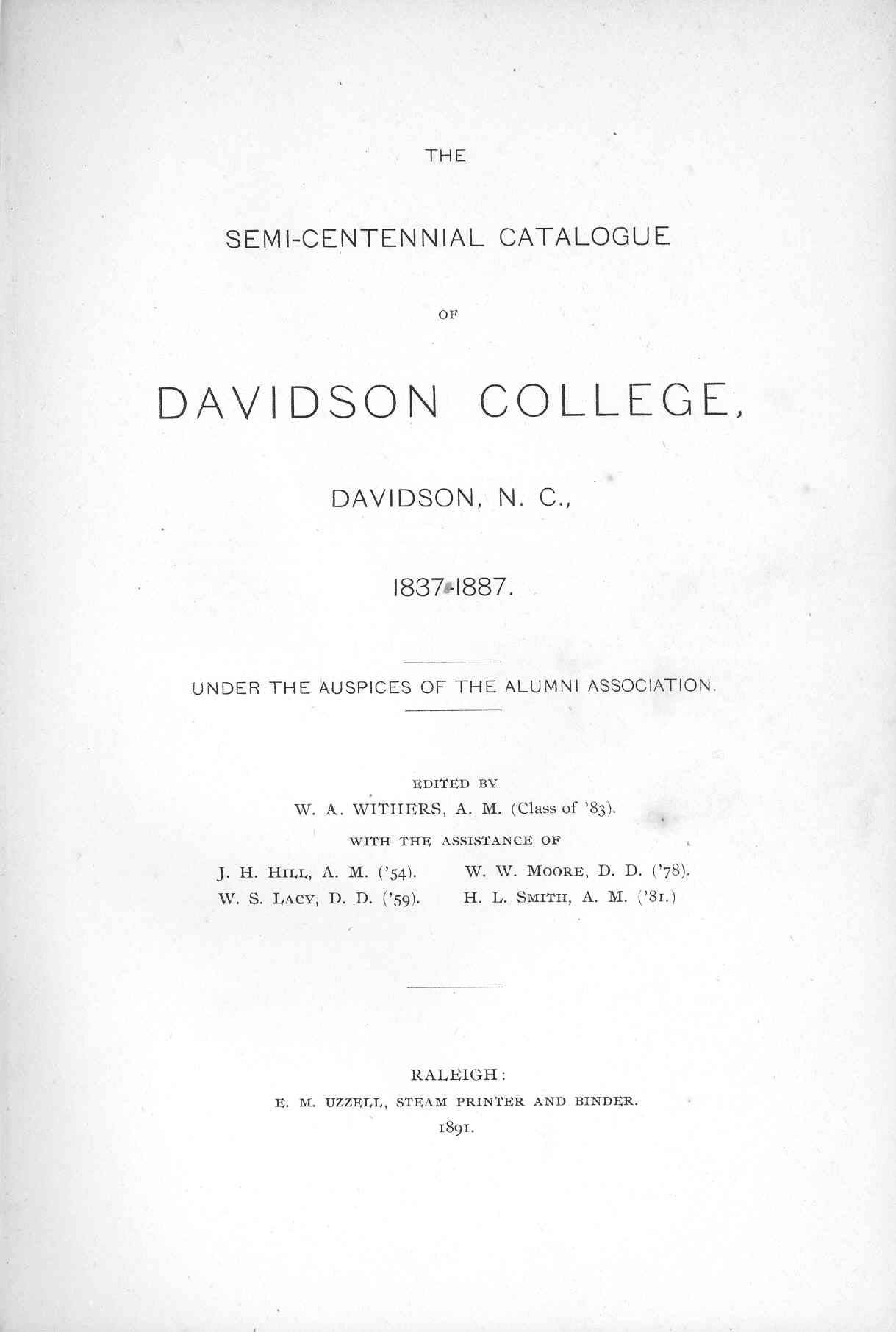 Title page of Semi-centennial catalogue of Davidson College
