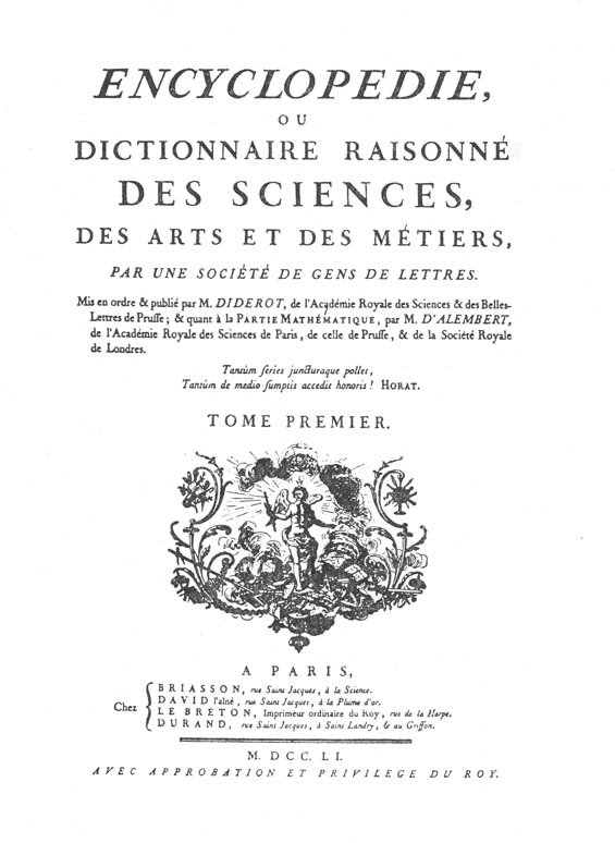 Scan of title page of Encyclopedie ou Dictionnaire Raisonne