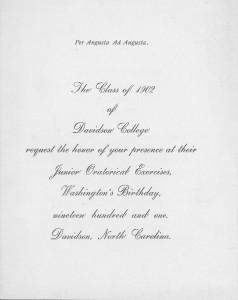 Invitation to the 1902 Junior Oratorial Exercises