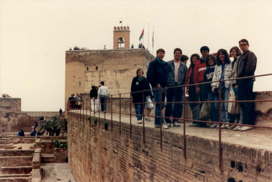 Davidson students on a study abroad trip to Spain at the Alhambra in 1989.