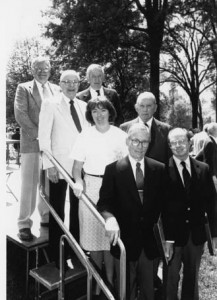 Alumni Award recipients in 1989. Don Davidson '39, Tom Clark'49, Sally Craig '81 (accepting for her father Ben Craig'54), Sam Smith '29, Boo Walker '39, Fred Smyre '34 and Alexander Schenck '34.