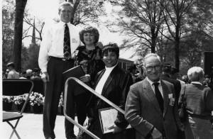 Alumni Award recipients in 1993, Jason '91 and Bonnie Brannon for Russ Brannon '68, Mitzi Short '83,and Joseph McCoy, Jr. '43.