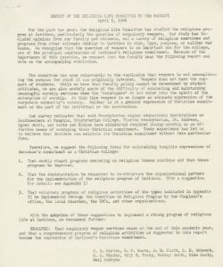 Will Terry's hand in dismantling the tradition of required vespers services can be seen here, in the Religious Life Committee's report to the faculty, April 5, 1966.