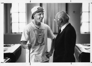 Will Terry chatting with a student, Bill Giduz, 1990.