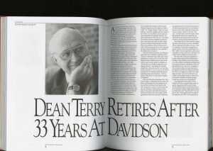 A cover story on his retirement in the Davidson Journal, Christine Bretscher Cavanaugh, '87, Spring  1994.