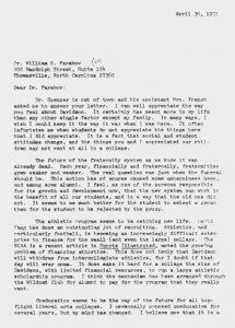 Will Terry's full response to the alumnus, April 30th, 197.