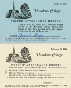 Students were also required to fill out attendance cards to prove that they had attended chapel and vespers services.