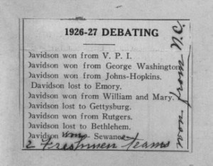 Newspaper Clipping Demonstrating Davidson Students' Oratorical Success (1927)