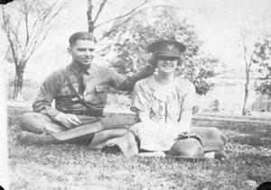 A playful couple at an R.O.T.C. Parade (Wednesday, April 15, 1925)