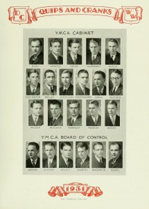 "The YMCA members and Board of Control found in the 1931 ""Quips And Cranks"""