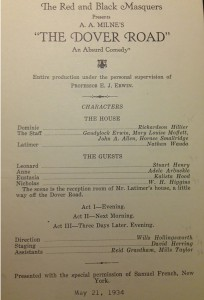 Program for The Dover Road Production (1934)