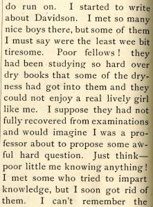 Commencement guest conveys disappointment with Davidson men, 1887.
