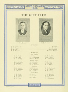 Roster of the Glee Club in 1928 (Quips and Cranks)