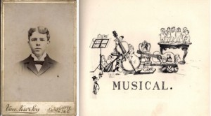 Edward Smallwood Vass pictured beside his sketch for a musical club (1895)