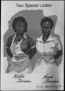"""Two Special Ladies"" Fannie Brandon and Mable Torrence featured in the 1982 Quips and Cranks (drawn by student Lisa Buckley '82)"