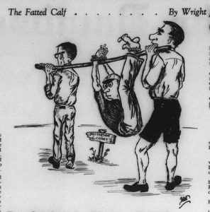 A Davidsonian comic from September 14th, 1963 showing freshmen at the mercy of the fraternitites