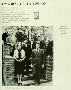 "The first members of the Omicron Delta Epsilon honorary fraternity found in the 1966 ""Quips and Cranks."" Dr. Nelson is pictured in the front row. Although in this picture, the society is all male, by 1977, there were 6 women members."