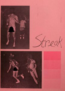 A censored image of streakers in the 1974 Quips and Cranks.
