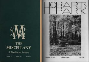 Covers of Miscellany and Hobart's Park from the 1970s.