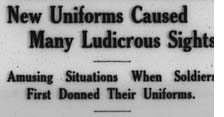 "newspaper headline stating, ""New Uniforms Caused Many Ludicrous Sights"""