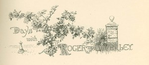"Illustration with writing saying, ""Days with Sir Roger de Coverley"""
