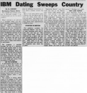 """Davidsonian article - IBM Dating Sweeps Country"""""""