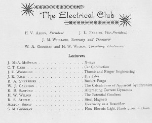 """yearbook page for, """"The Electrical Club"""" giving the professors and their lectures relating to the club"""