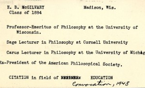 Card from alumni file listing E.B. McGilvary's career