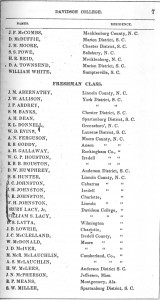 1855-1856 catalogue of Davidson college freshman with their names and residence