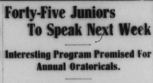 "Davidsonian headline in 1915, ""Forty-Five Juniors To Speak Next Week"""