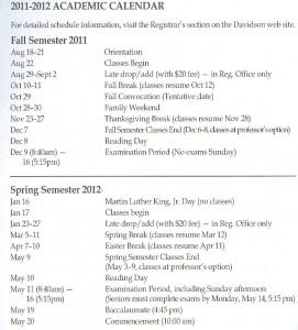2011-2012 Davidson College academic calendar
