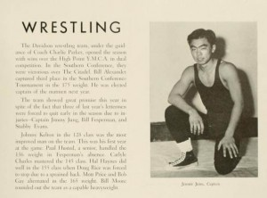 1949 Yearbook page for Wresting featuring Jimmy Jung