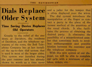 "davidsonian article with the heading, ""Dials Replace Older System"""
