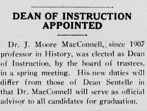 "Davidsonian article announcing the first dean of instruction with the heading, ""Dean of Instruction Appointed"""