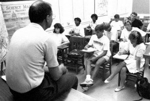 July Experience students in class with Professor Malcolm Partin in 1988