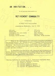 Flyer for retirement center meeting