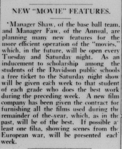 """Notice in Davidsonian for student movie busines with the headline, """"New """"Movie"""" Features"""""""