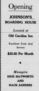 """1934 ad for student boarding saying, """"Opening"""" for Johnson's Boarding House"""