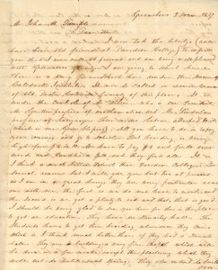 First page of Chambers' letter to Sample, December 9, 1837