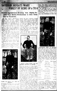 Charlotte Observer article recounting the 1913 Thanksgiving day game