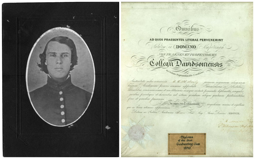 A young E. Constantine Davidson, one of the those eleven graduates in 1840, and the diploma of Oni Davis McNeely (Class of 1840), currently on display in the Library's Davidsoniana Room