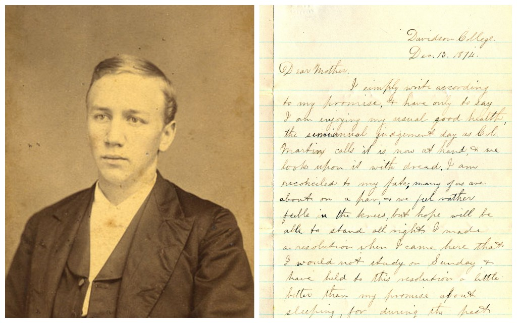 Fries during his college days, and the first page of his 13 December 1874 letter to his mother