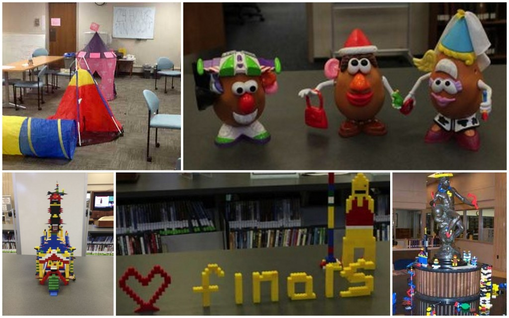 Tents in the 24 hours study room, Potato Heads, and various Lego creations from previous semesters