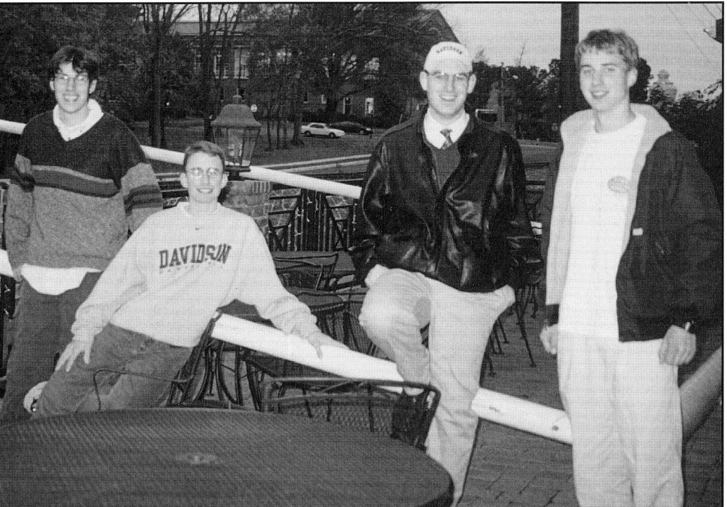 Those goalposts ended up in the senior apartments, as seen in this photo from Quips and Cranks 2001 - shown here with Chris Thawley, Jeff Larrimore, Rob Neuman, and William Childs (all Class of 2004).